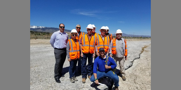 Commission on Mineral Resources on sinter terrace at Ormat's Steamboat geothermal  field near Reno, NV. 05-10-2019.