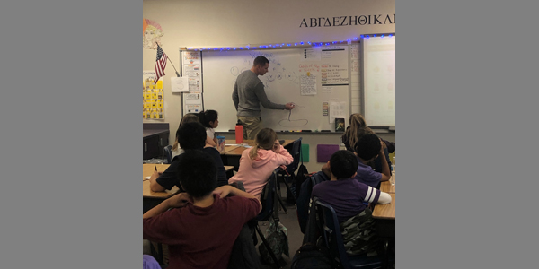 Garrett Wake presents to 4th grade Steele Elementary School students in So. Nevada on the uses of minerals, and how geologists identify minerals in the field. 11/30/2018.