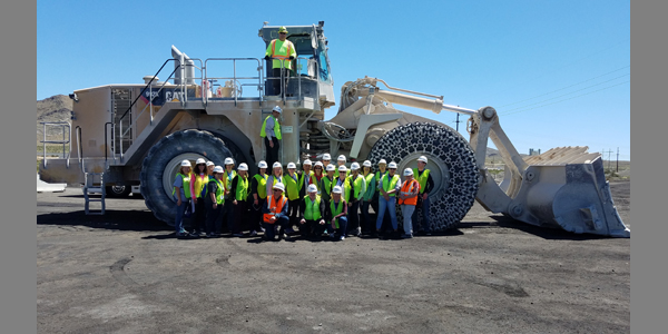 Teachers touring the Southern Nevada Minerals Education Workshop tour the Lhoist Limestone Quarry and Chemical Lime Plant in Southern Nevada, Clark County, Nevada. April 17th, 2019.