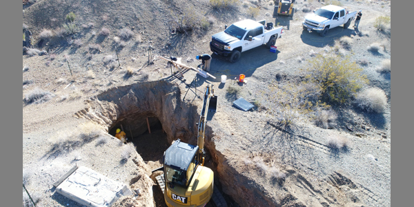 AML: NDOM contractor Environmental Protection Services repairing a road that had collapsed into an underground abandoned mine near the town of Nelson, NV. November 9, 2017.