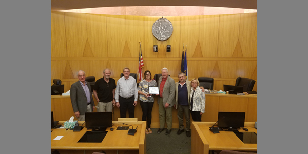 CMR: On May 17th, Maureen O'Bannon, granddaughter of Fred Gibson, receives Fred's award for 34 years of service on the Commission on Mineral Resources.  Mr. Gibson passed away on May 5, 2018.