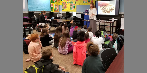 MinEd: Aubrey Bonde, NDOM education and outreach specialist, is presenting a lesson called Mining Nevada's Rocks and Minerals to a 4th grade class at Odyssey Charter School in Las Vegas, Nevada, March 20, 2018.