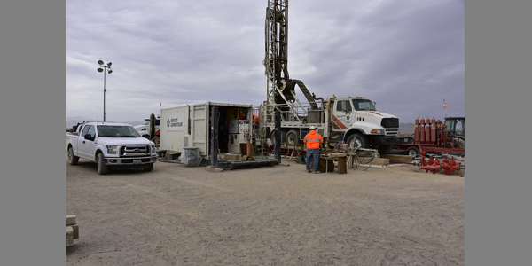 Mining: Dissolved mineral exploration drilling in Esmeralda County.