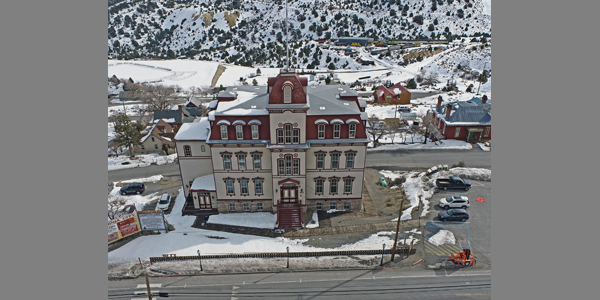 NDOM drone photo of the Historic Fourth Ward School Museum, in Virginia City. The museum teaches kids to Stay Out (of Abandoned Mines) and Stay Alive. (03/03/2021)
